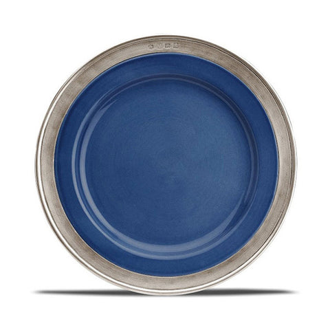 Convivio Starter/Dessert Plate - Blue (Set of 4) - 22 cm Diameter -  Handcrafted in Italy - Pewter & Ceramic