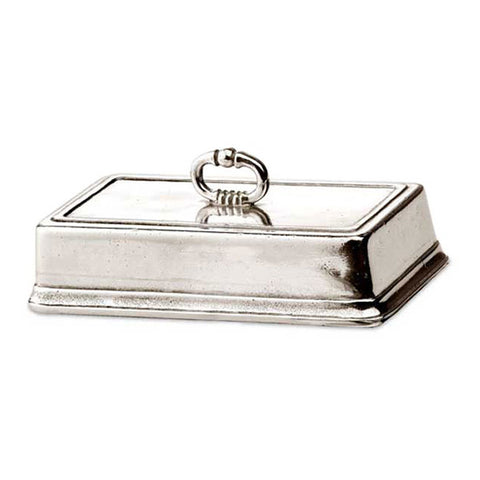 Convivio Rectangular Butter Cover - 16 cm - Handcrafted in Italy - Pewter