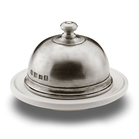 Convivio Round White Ceramic Butter Dome - 10.5 cm Diameter - Handcrafted in Italy - Pewter & Ceramic
