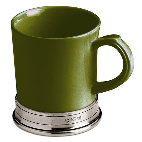 Convivio Mug - Green - (Set of 2) - 40 cl - Handcrafted in Italy - Pewter & Ceramic