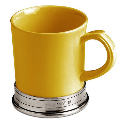 Convivio Mug - Gold - (Set of 2) - 40 cl - Handcrafted in Italy - Pewter & Ceramic