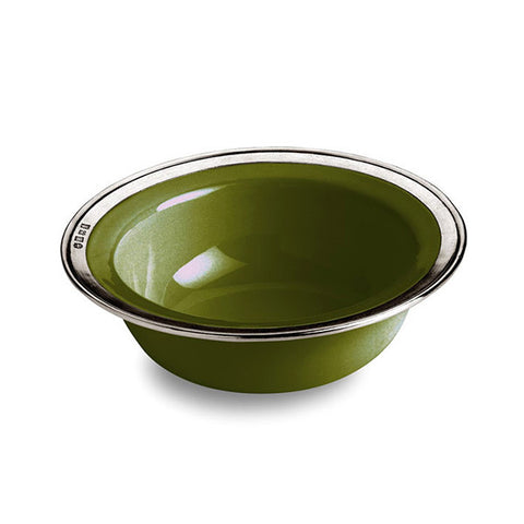 Convivio Cereal Bowl - Green (Set of 2) - 20 cm Diameter - Handcrafted in Italy - Pewter & Ceramic