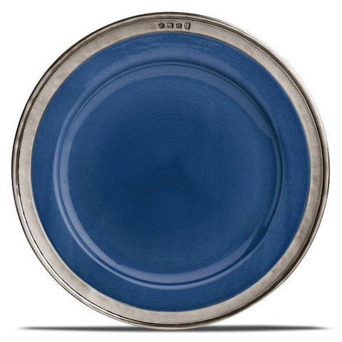 Convivio Charger Plate - Blue - (Set of 2) - 31 cm Diameter - Handcrafted in Italy - Pewter & Ceramic