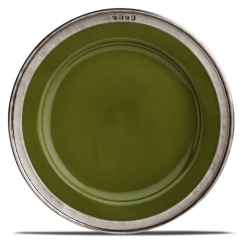 Convivio Charger Plate - Green - (Set of 2) - 31 cm Diameter - Handcrafted in Italy - Pewter & Ceramic