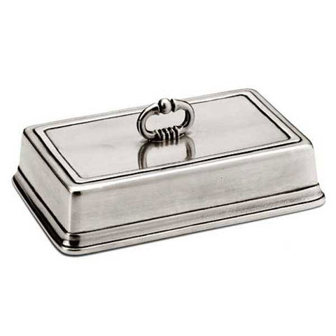 Convivio Rectangular Cheese Cover - 16 cm - Handcrafted in Italy - Pewter