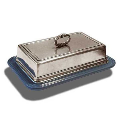 Convivio Rectangular Butter Dish - Blue - 18.5 cm - Handcrafted in Italy - Pewter & Ceramic