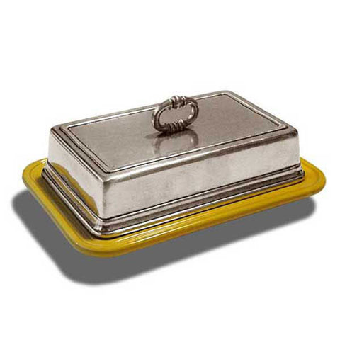Convivio Rectangular Butter Dish - Gold - 18.5 cm - Handcrafted in Italy - Pewter & Ceramic