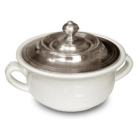 Convivio Covered Soup Bowl - White - 14.5 cm Diameter - Handcrafted in Italy - Pewter & Ceramic