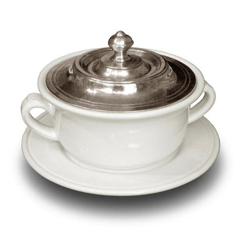Convivio Covered Soup Bowl & Plate - White - 14.5 cm Diameter - Handcrafted in Italy - Pewter & Ceramic