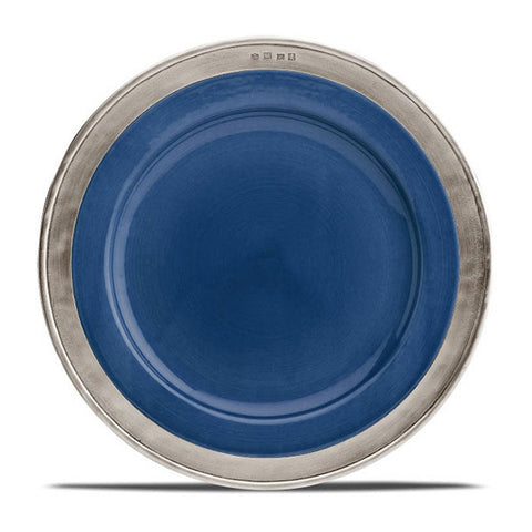 Convivio Dinner Plate - Blue (Set of 4) - 27.5 cm Diameter - Handcrafted in Italy - Pewter & Ceramic