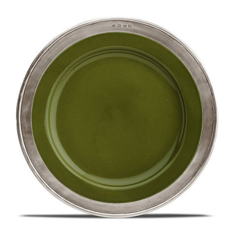 Convivio Dinner Plate - Green (Set of 4) - 27.5 cm Diameter - Handcrafted in Italy - Pewter & Ceramic