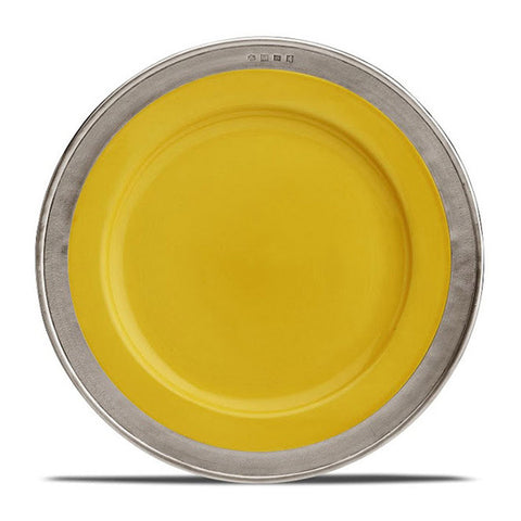 Convivio Dinner Plate - Gold (Set of 4) - 27.5 cm Diameter - Handcrafted in Italy - Pewter & Ceramic