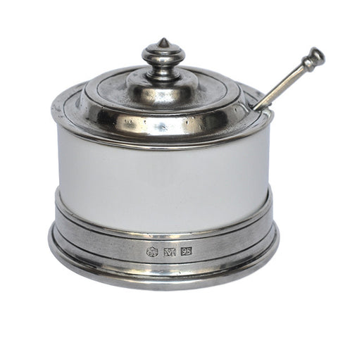 Convivio Jam Pot (with spoon) - White - 9.5 cm Diameter - Handcrafted in Italy - Pewter & Ceramic
