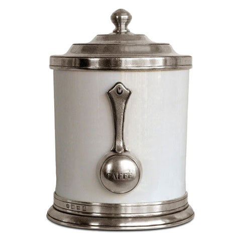 Convivio Coffee Canister - 1.4 L - Handcrafted in Italy - Pewter & Ceramic