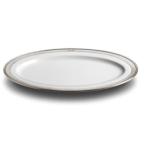 Convivio Oval Serving Platter - 57 cm x 38 cm  - Handcrafted in Italy - Pewter & Ceramic