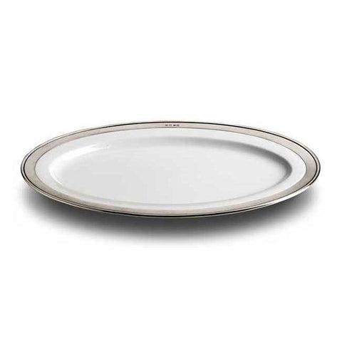 Convivio Oval Serving Platter - White - 46 cm x 33 cm - Handcrafted in Italy - Pewter & Ceramic