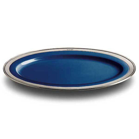 Convivio Oval Serving Platter - Blue - 57 cm x 38 cm  - Handcrafted in Italy - Pewter & Ceramic