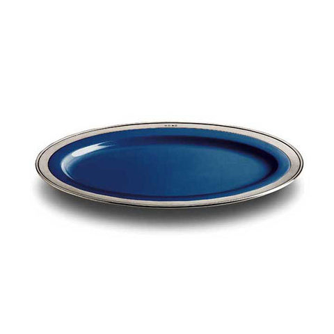 Convivio Oval Plate - Blue - 37 cm x 27 cm - Handcrafted in Italy - Pewter & Ceramic