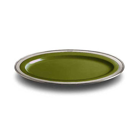 Convivio Oval Serving Platter - Green - 37 cm x 27 cm - Handcrafted in Italy - Pewter & Ceramic