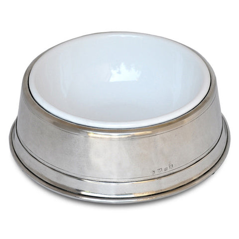 Convivio Pet Bowl - 23 cm Diameter - Handcrafted in Italy - Pewter & Enamel