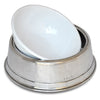 Convivio White Enamel Pet Bowl - 23 cm Diameter - Handcrafted in Italy - Pewter & Enamel