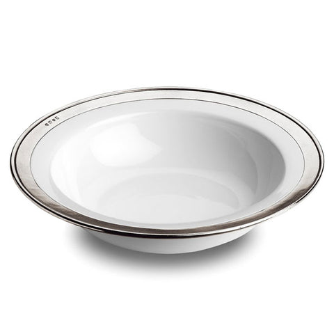 Convivio Serving Bowl - 39.5 cm Diameter - Handcrafted in Italy - Pewter & Ceramic