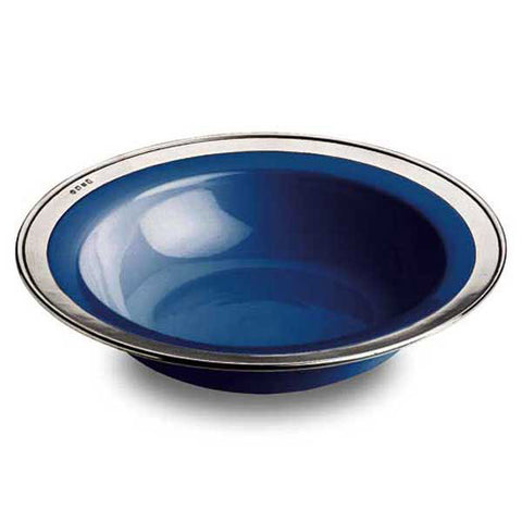 Convivio Serving Bowl - Blue - 39.5 cm Diameter - Handcrafted in Italy - Pewter & Ceramic