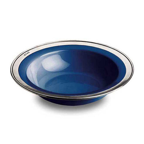 Convivio Serving Bowl - Blue - 30 cm Diameter - Handcrafted in Italy - Pewter & Ceramic