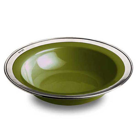 Convivio Serving Bowl - Green - 39.5 cm Diameter - Handcrafted in Italy - Pewter & Ceramic