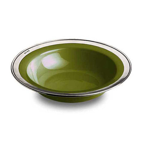 Convivio Serving Bowl - Green - 30 cm Diameter - Handcrafted in Italy - Pewter & Ceramic