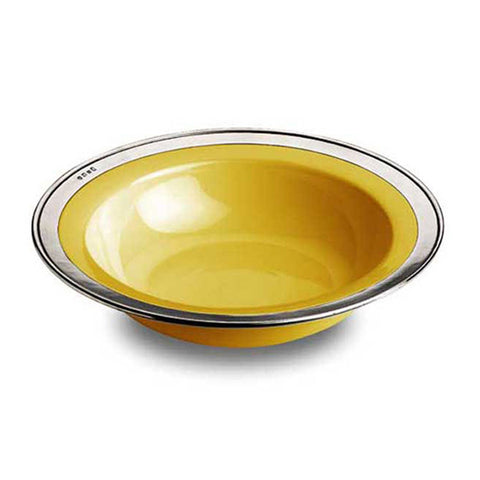 Convivio Serving Bowl - Gold - 30 cm Diameter - Handcrafted in Italy - Pewter & Ceramic