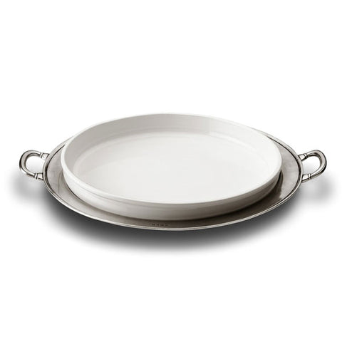Convivio  Round White Ceramic Platter - 48.5 cm Diameter - Handcrafted in Italy - Pewter & Ceramic