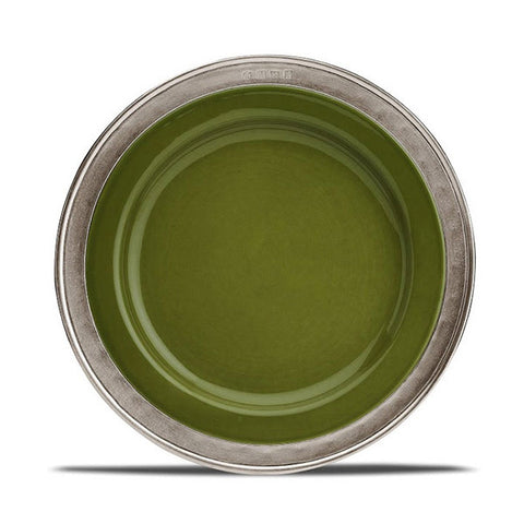 Convivio Starter/Dessert Plate - Green (Set of 4) - 22 cm Diameter -  Handcrafted in Italy - Pewter & Ceramic