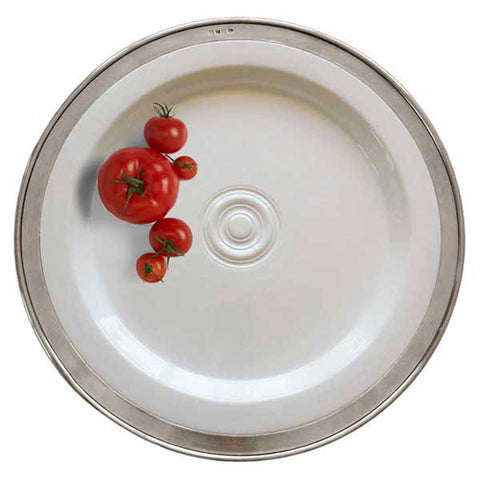 Convivio Round Serving Platter - White - 45 cm  - Handcrafted in Italy - Pewter & Ceramic