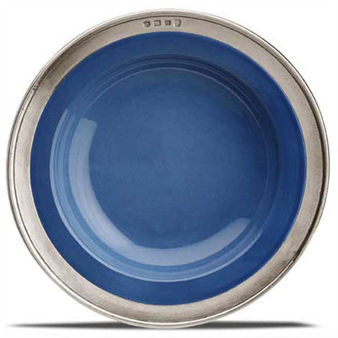 Convivio Soup/Pasta Bowl - Blue (Set of 4) - 21 cm Diameter - Handcrafted in Italy - Pewter & Ceramic