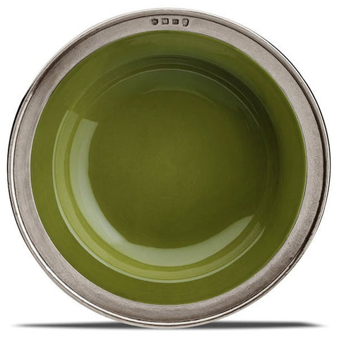 Convivio Soup/Pasta Bowl - Green (Set of 4) - 21 cm Diameter - Handcrafted in Italy - Pewter & Ceramic