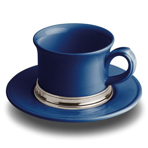 Convivio Tea Cup - Blue - 30 cl -  (Set of 2) - Handcrafted in Italy - Pewter & Ceramic