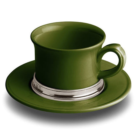 Convivio Tea Cup - Green - 30 cl -  (Set of 2) - Handcrafted in Italy - Pewter & Ceramic