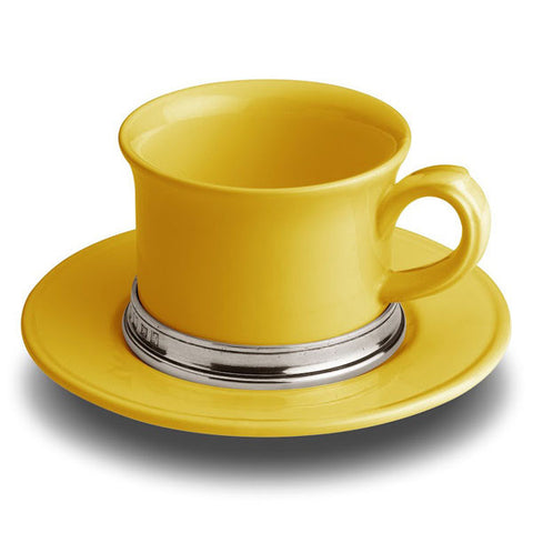 Convivio Tea Cup - Gold - 30 cl -  (Set of 2) - Handcrafted in Italy - Pewter & Ceramic