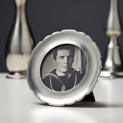 Carretti Round Photo Frame - 10 cm - Handcrafted in Italy - Pewter