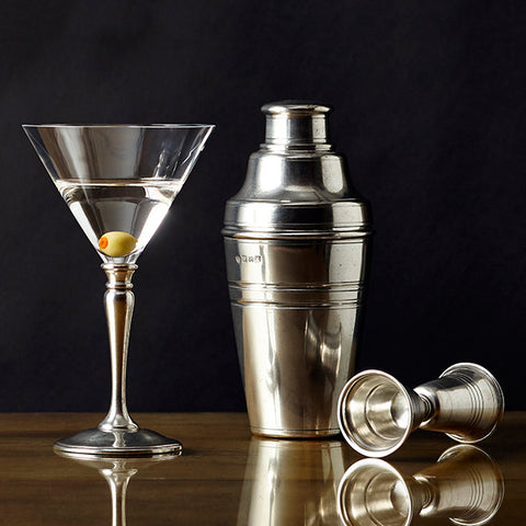 Pewter Cocktail Kit - Handcrafted in Italy - Pewter & Crystal Glass
