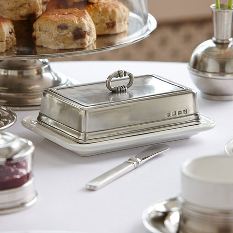 Convivio Rectangular White Ceramic Butter Dish - 18.5 x 13 cm - Handcrafted in Italy - Pewter & Ceramic
