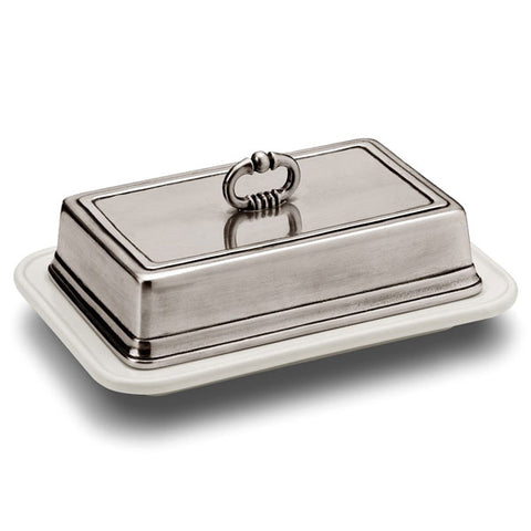 Convivio Rectangular Butter Dish - 18.5 x 13 cm - Handcrafted in Italy - Pewter & Ceramic