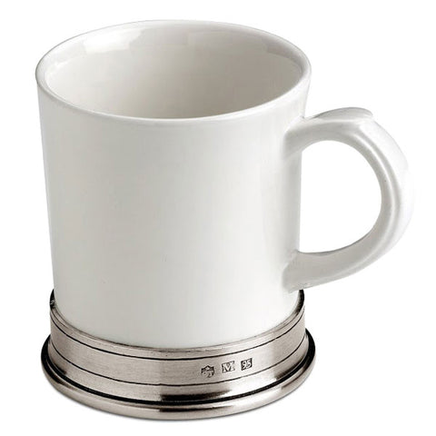 Convivio Mug (Set of 2) - White - 40 cl - Handcrafted in Italy - Pewter & Ceramic