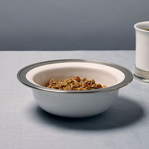 Convivio Cereal Bowl (Set of 2)- White - 20 cm Diameter - Handcrafted in Italy - Pewter & Ceramic