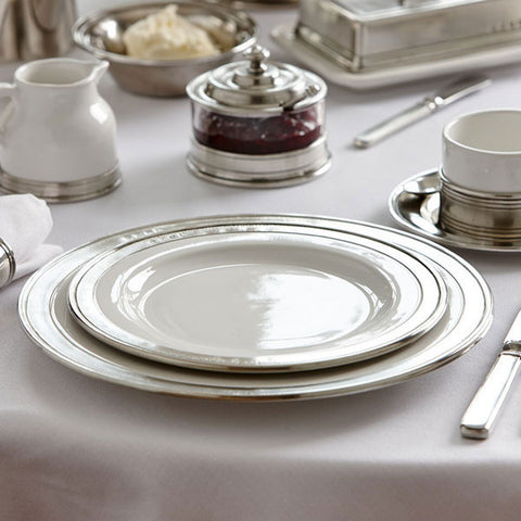 Convivio Charger Plate (Set of 2) - White - 31 cm Diameter - Handcrafted in Italy - Pewter & Ceramic