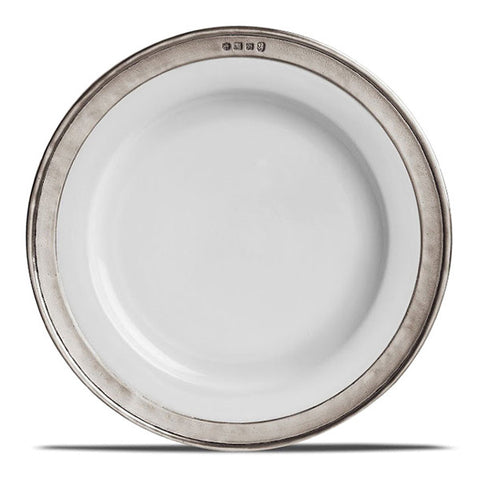 Convivio Dinner Plate (Set of 4) - White - 27.5 cm Diameter - Handcrafted in Italy - Pewter & Ceramic