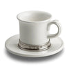 Convivio Espresso Cup (Set of 2) - 7cm Height - Handcrafted in Italy - Pewter & Ceramic