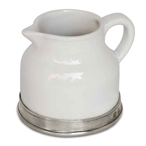 Convivio Milk Jug - White - 8 cm Height - Handcrafted in Italy - Pewter & Ceramic