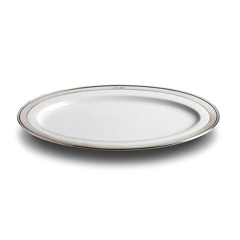 Convivio Oval Plate - 37 cm x 27 cm - Handcrafted in Italy - Pewter & Ceramic